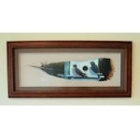 Handpainted Framed Turkey Feather/ Purple Martins - horizontal