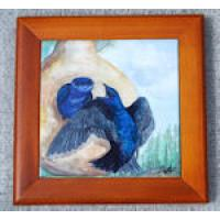 "Gourd Purple Martins 4 "" Tile in frame"