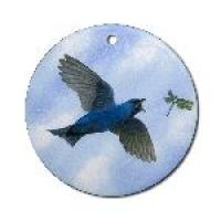 Martin & Dragonfly round ornament